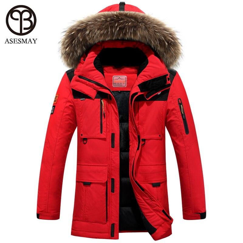 Asesmay 2016 Зимняя куртка мужские пальто куртка-пуховик с меховым капюшоном Съемная куртка мужчины пальто мужской куртка плюс Размеры