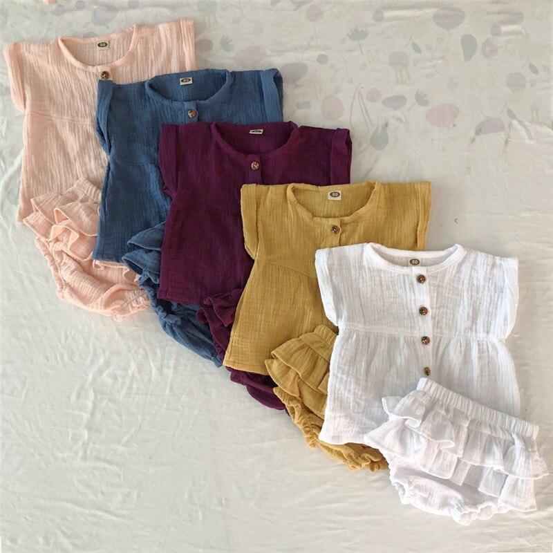 2019 Verão De Linho Menina Da Criança Do Bebê Recém-nascido Tops Ruffled Curto Calças Roupas Roupas set roupas Crianças roupas de menina