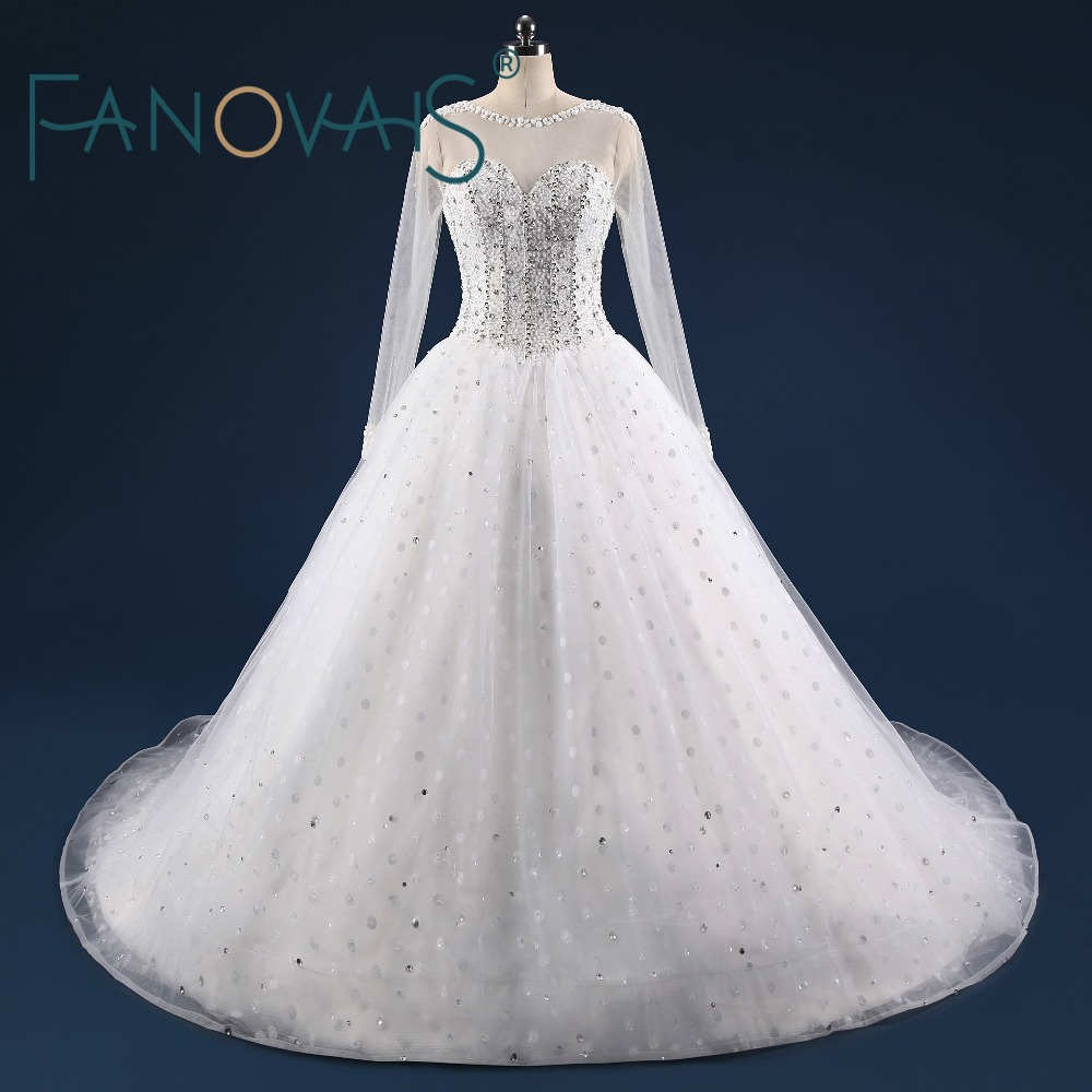 Beaded Luxury Wedding Dress 2019 Crystal Ball Gown Wedding Dresses Long sleeves Wedding Gowns Bridal Gowns Vestido de Novia