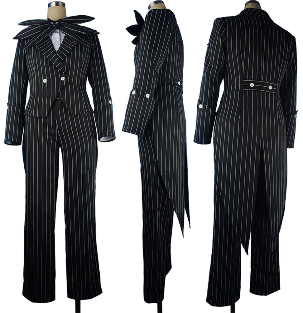 The Nightmare 2 Before Christmas Jack Skellington Stripe Suit Tuxedo Men Adults Halloween Cosplay Costume
