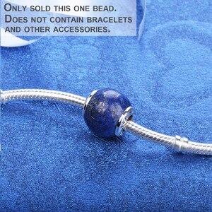 Image 2 - Lapis lazuli 925 ayar gümüş boncuk charms fit bilezik ve bilezikler TRBS004