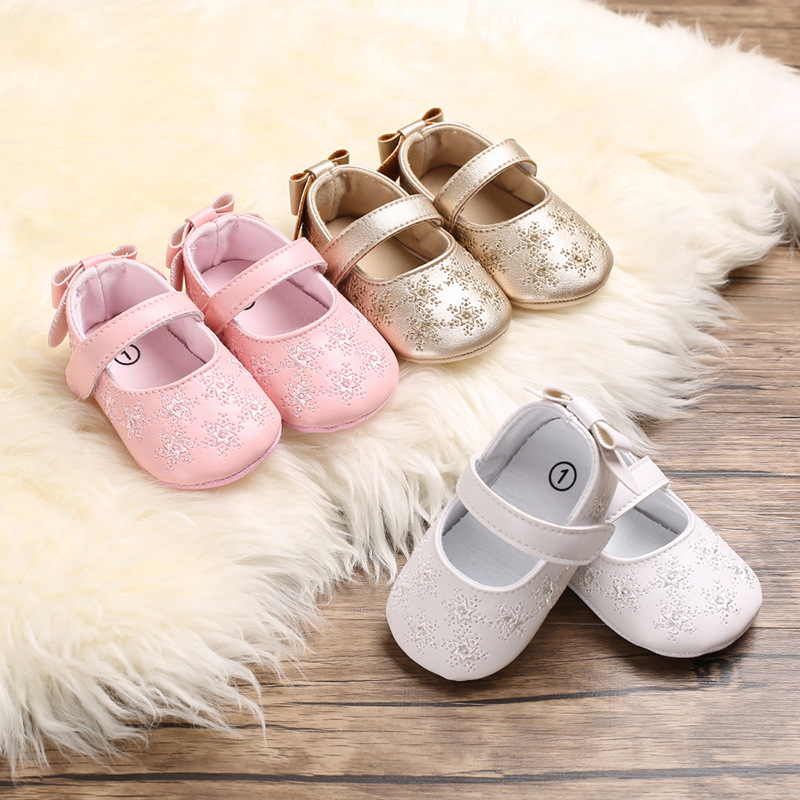 LANSHITINA Baby Girl Child Shoes PU Leather Princess Crib Shoes With Embroidery New Born Girl First Walker Kids Moccasins B178
