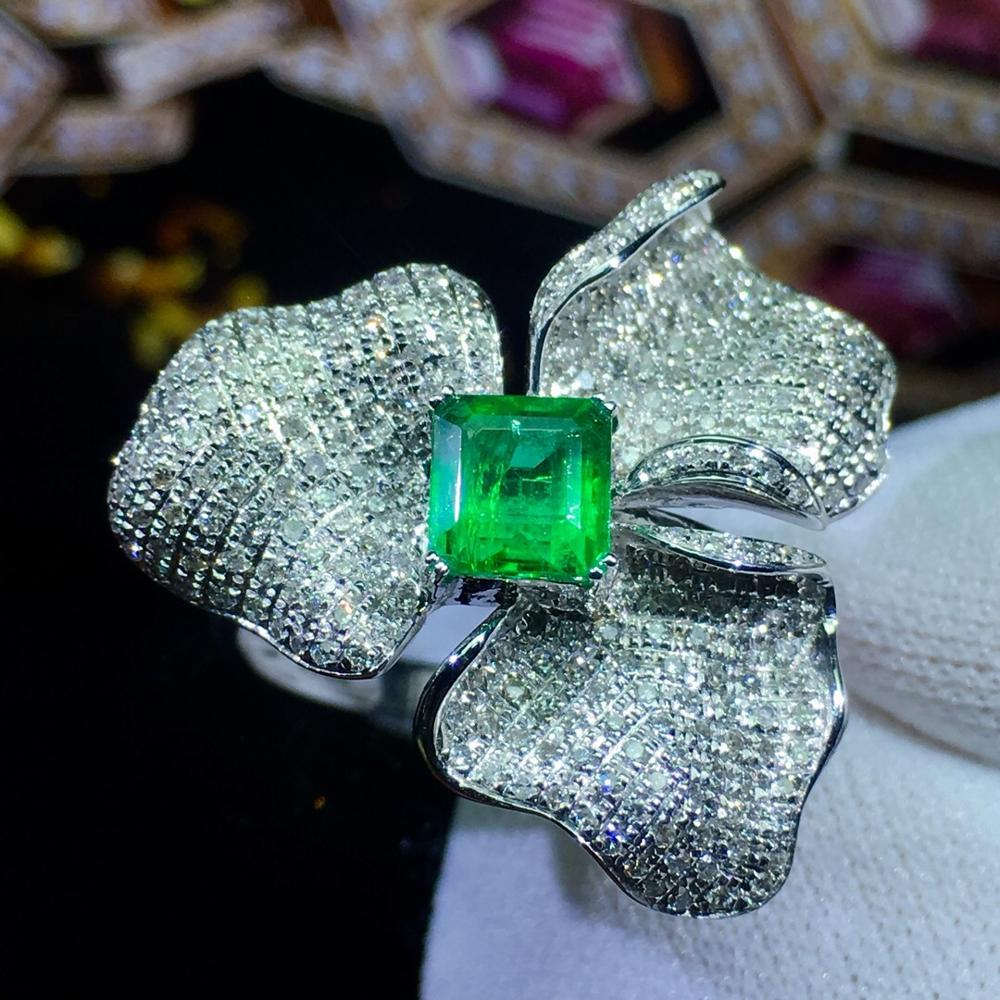 Emerald Ring Fine Jewelry 18 K Gold Jewelry Real Vivid Green Emerald Gemstone 0.86ct Diamonds Female Wedding Engagement RingsEmerald Ring Fine Jewelry 18 K Gold Jewelry Real Vivid Green Emerald Gemstone 0.86ct Diamonds Female Wedding Engagement Rings
