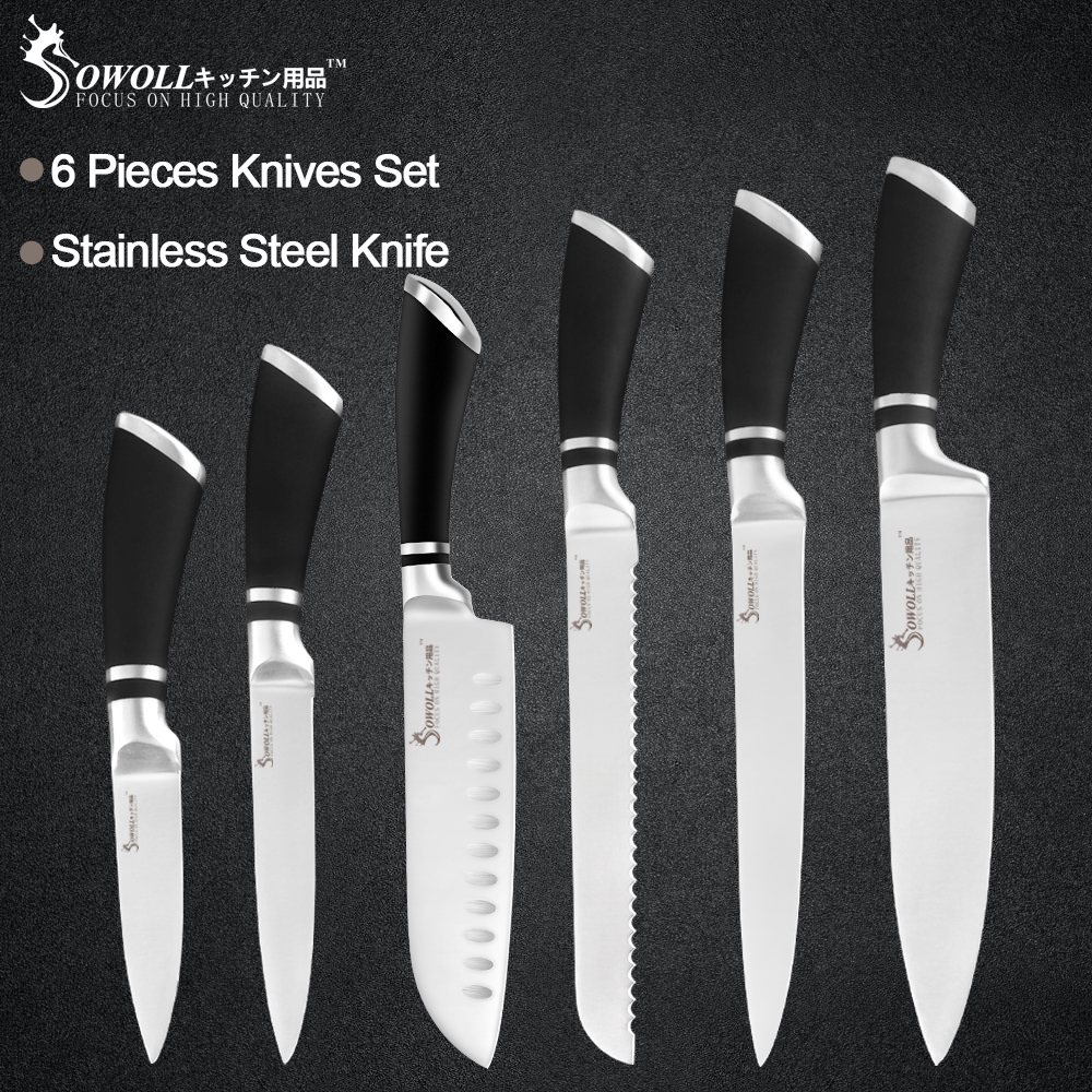 Sowoll Paring-Knife Kitchen-Tool-Set Stainless-Steel Utility Bread-Santoku Chef 6pcs