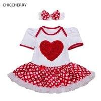 ポルカドットレッド3d愛女の子バレンタインの日衣装レースロンパースドレス新生児ガール服vestido幼児