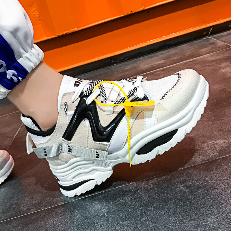 Stylish Women Casual Shoes Lovers Leather Dad Platform Chunky Sneakers Harajuku Flat Thick Sole Tenis Wedge White Basket Walking title=