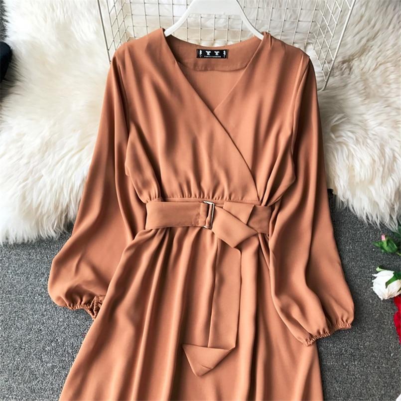 Fashion 2019 V Neck Spring Autumn Bandage Midi Long Dress Party Vestidos Women Casual Elegant Evening Tie Vestido de festa 5