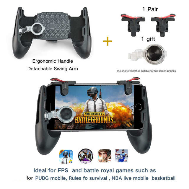 Portable 3 in 1 Mobile Game Survival Gamepad Joystick Button L1R1 Gaming Handle Trigger Grip for iphone XIAOMI Phone Knives PUBG