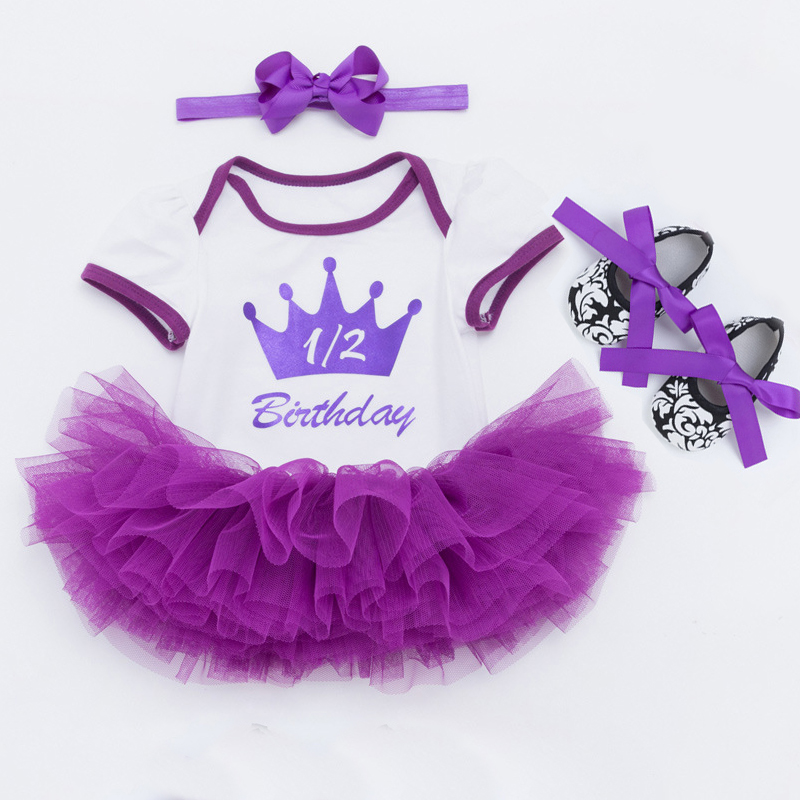 New Born Baby Girls Infant Dress&clothes Summer Kids Party Birthday Outfits 0-2T Shoes Set Christening Gown Baby Party Clothes 4color choose set clothes hairbrand wear fit 43cm baby born zapf children best birthday gift only sell package
