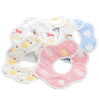 Pure Cotton Baby Bib Mouthpiece Gauze 360 Degree Rotation Cute Bandana For Children Cartoon New Infant