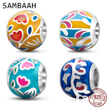 Sambaah High Class Colorful Enamel Flower Charms 925 Sterling Silver Round Ball Beads for Original Pandora Spring DIY Bracelet