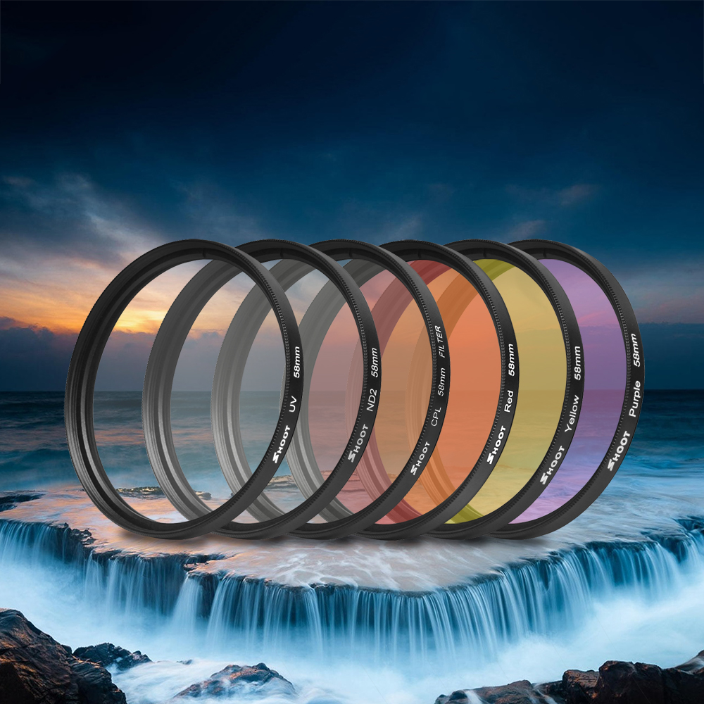 6 in 1 58mm for GoPro Hero 5 Filter Set UV CPL ND4 Yellow Red Purple