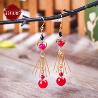 temperament south Korean allergy free silver earrings exaggerated personality tassels eardrop in Europe and America
