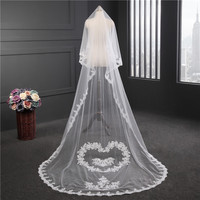 Korean wedding veil new soft yarn handwork heart shaped flowers Lace wedding veil wedding accessories