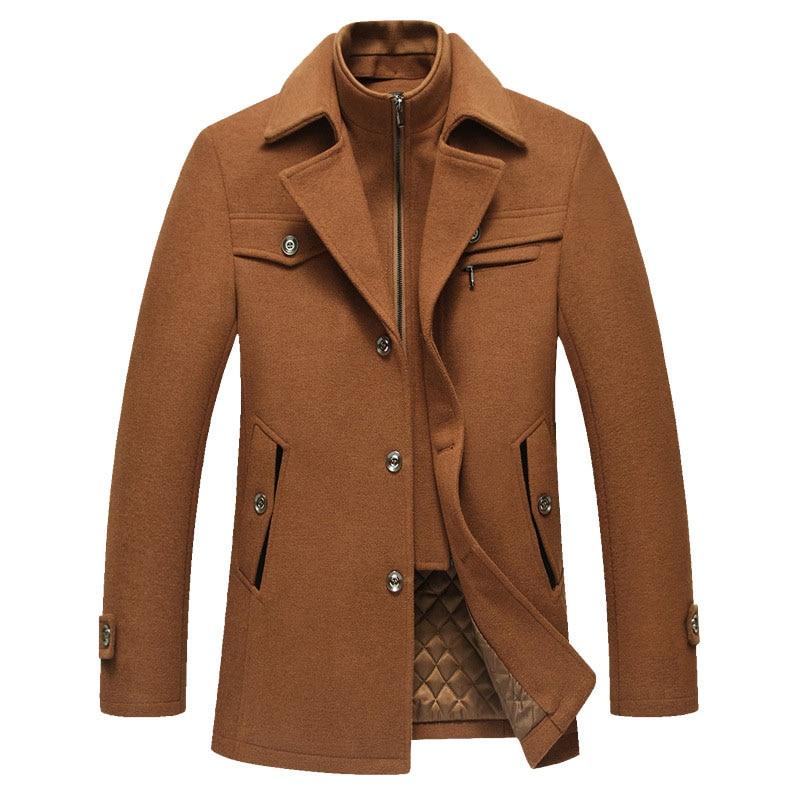Uomini cappotto di Lana Cappotti Giubbotti Tuta Sportiva Caldo Inverno Addensare Warm Pea Coat Slim Fit Marchio di Abbigliamento Più Il Formato 4XL Falso 2 pcs-in Trench da Abbigliamento da uomo su  Gruppo 1