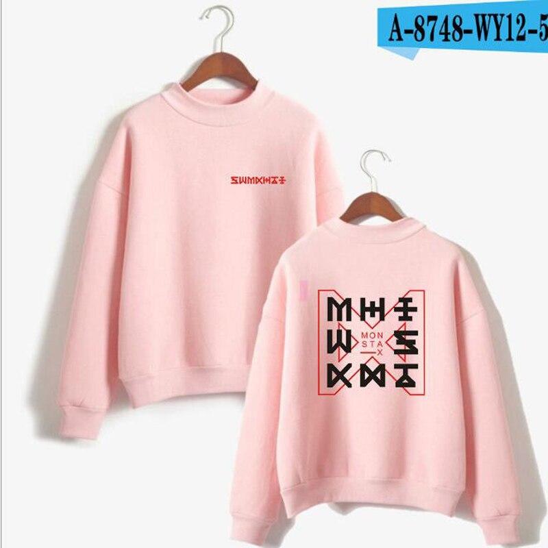 KPOP Monsta X JOOHEON I.M YOOKIHYUN WONHO Turtleneck Women Hoodies Sweatshirts Outwear Loose Korean Groups Oversize Clothes