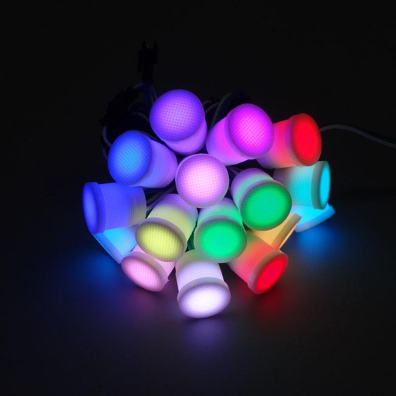 Envío Gratis diámetro 20mm transparente/cubierta lechosa cadenas de módulos LED DC5V ws2811IC 50smd1 led RGB digital LED pixel luces 50leds 12mm WS2811 2811 IC Color píxeles de módulo LED luz DC5V IP68 RGB impermeable Digital de color luz LED del Pixel