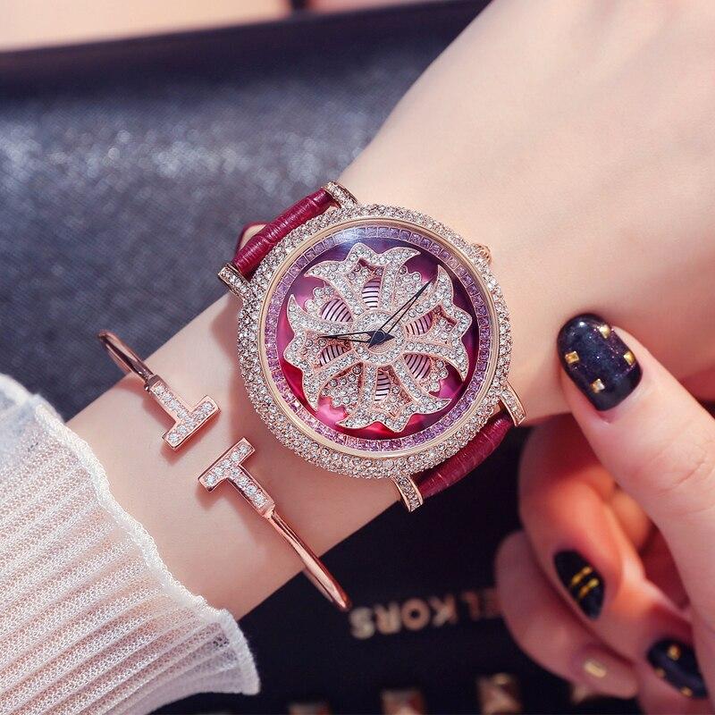 Diamant stein damen uhr große zifferblatt quarzuhr wasserdicht mode glänzende muster weiblichen uhr mit leder armband - 4