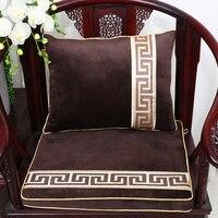 Patchwork Geometric Velvet Thicken Chair Mat Seat Sofa Pad Luxury Seat Cushions for Chairs Lumbar Pillow Cushion Decor Armchair