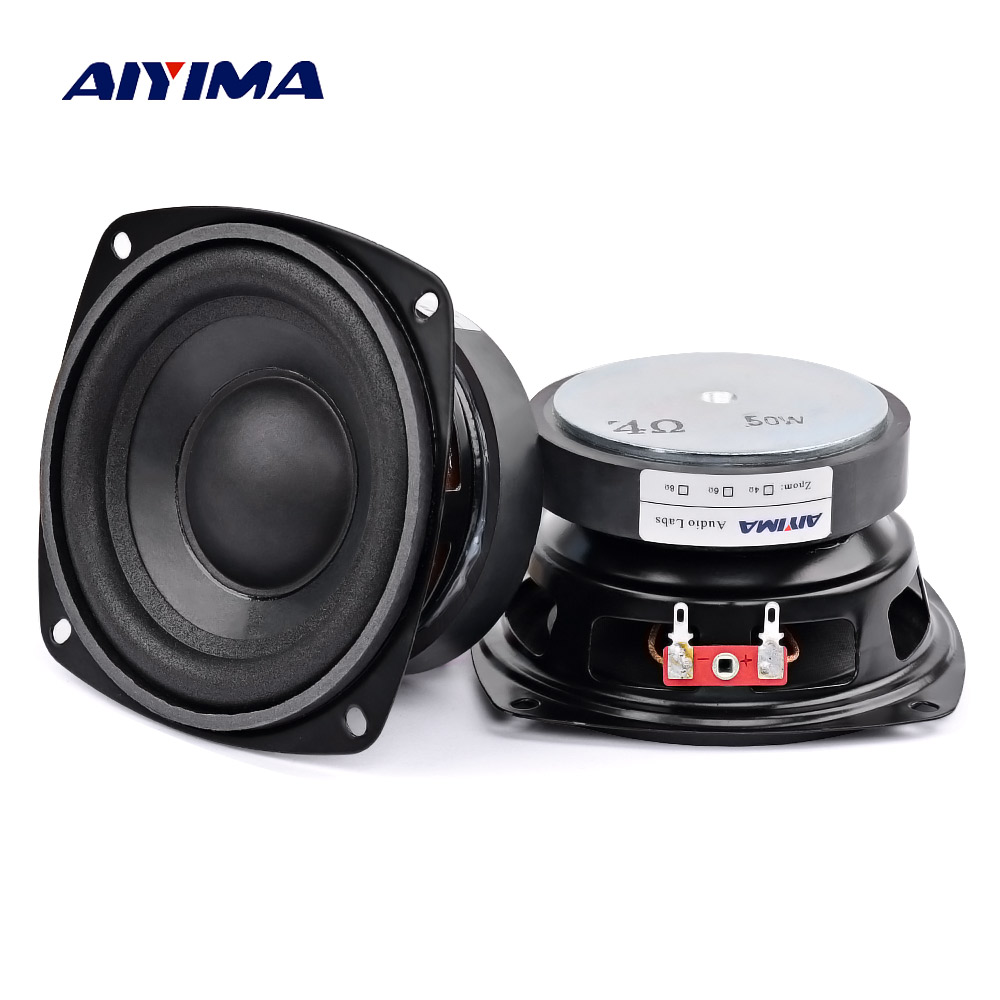 AIYIMA 2Pcs 4 inch 50W Subwoofer Audio Speaker Portable Mini Stereo 4 Ohm 8Ohm Speakers Woofer
