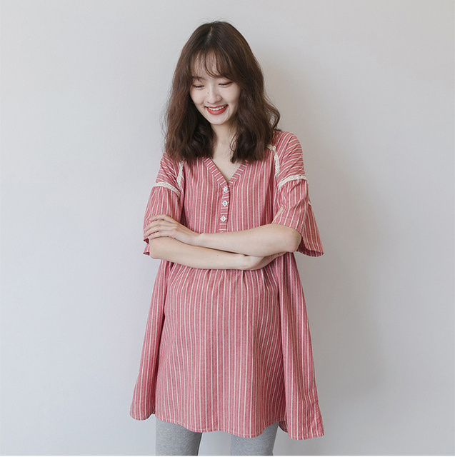 Large size Pregnant women Pink Plaid Blouse Maternity Clothing Long Sleeve Blouse Elegant Long Shirts Pregnancy Tops pregnant
