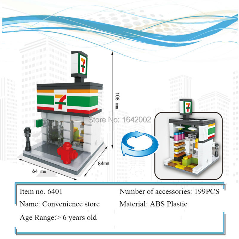 New City Series Mini Street Model Convenience Shop`s Building Blocks Toys for Children Educational Birthday Christmas gifts