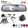 "Dual Core Car Parking Reverse Sensor Buzzer Speaker Radar Rear View Camera Show on 4.3"" Mirror Monitor Screen Parking Assistance"
