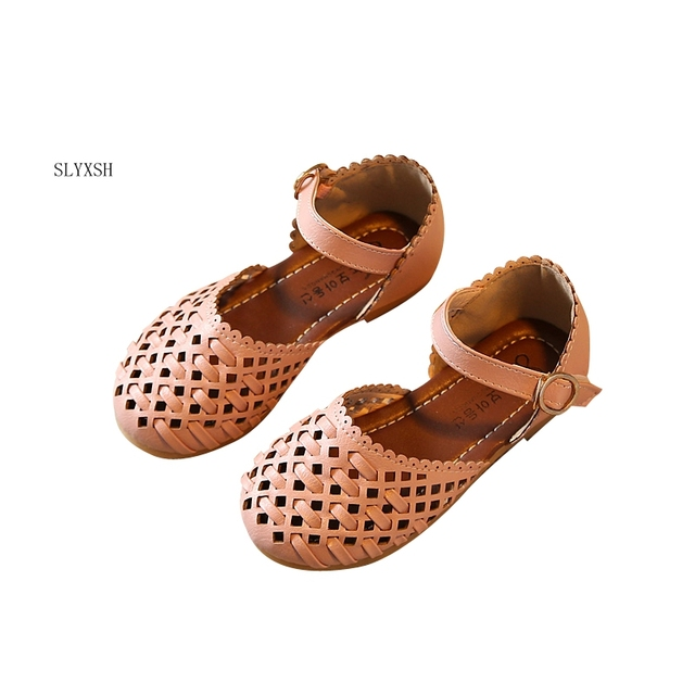 Girls sandals Summer toddler gladiator sandals flat shoes Fashion children  shoes girls princess cut-outs Kids pu leather Shoes 5a244364eea2