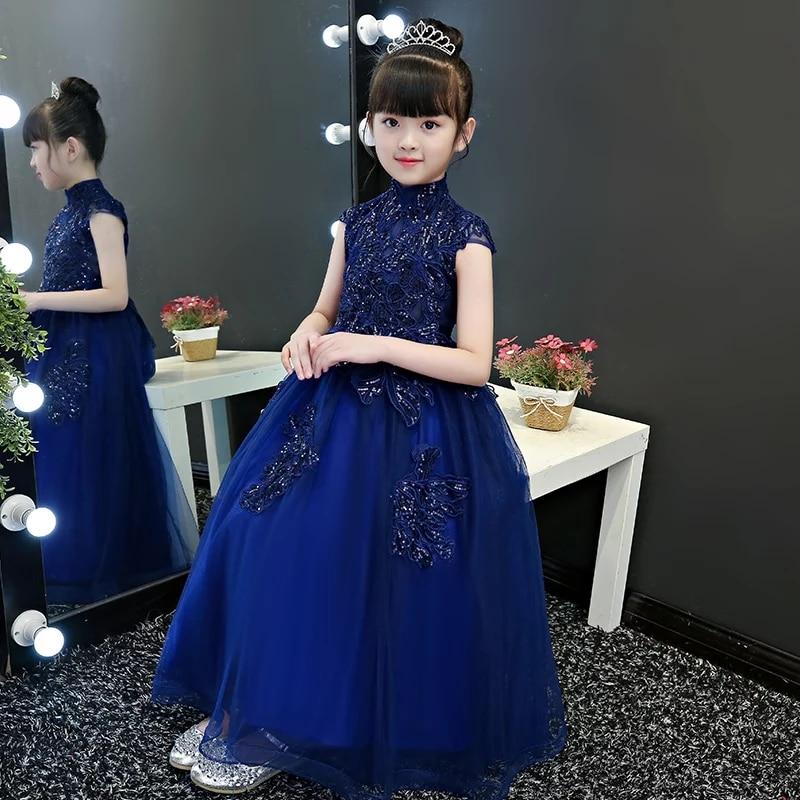 купить Children Girls 2018 Summer Fashion New Model Show catwalk Evening Party Prom Long Dress Kids Baby Elegant Piano Pageant Dress недорого