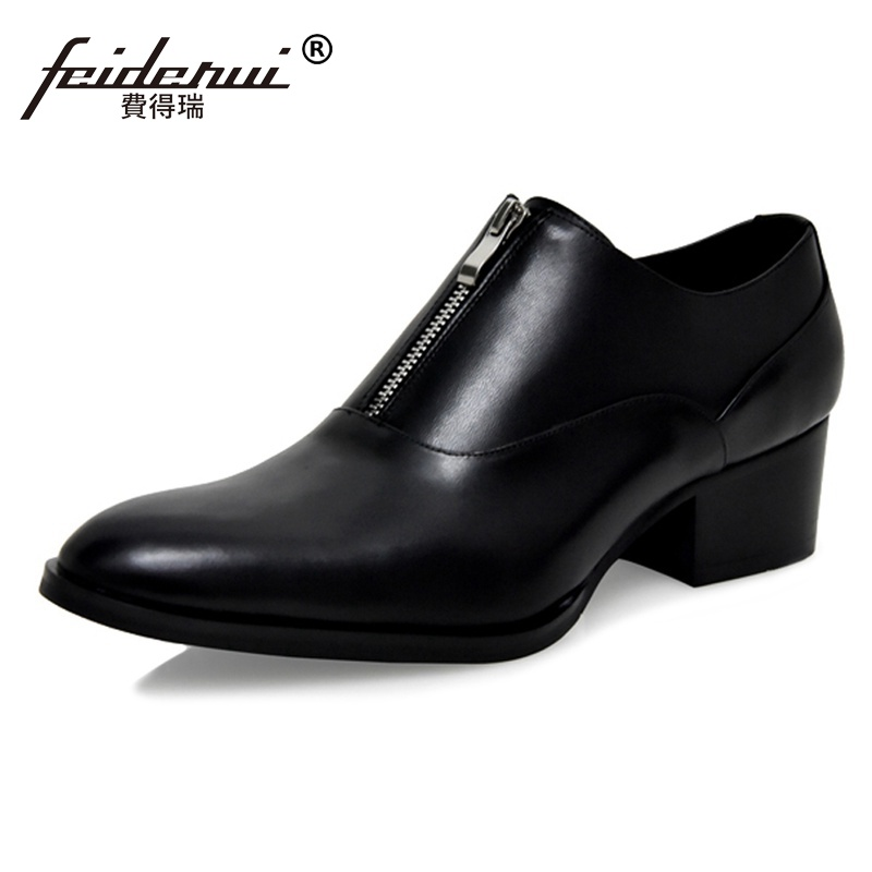 New Arrival Genuine Leather Man Formal Dress High Heels Footwear Pointed Toe Zip Height Increasing Mens Handmade Shoes SS76New Arrival Genuine Leather Man Formal Dress High Heels Footwear Pointed Toe Zip Height Increasing Mens Handmade Shoes SS76