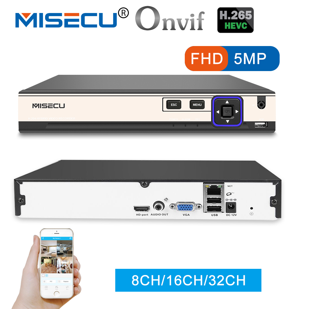 Misecu Новый H.265 5MP 8CH/16CH 1080 P 32CH 2 SATA HDD Порты NVR xmeye ONVIF P2P обнаружения движения HDMI VGA CCTV видео Регистраторы