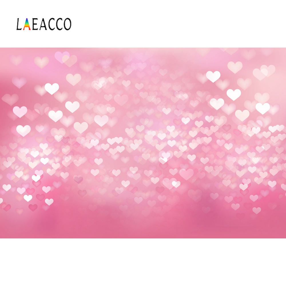 Laeacco Pink Love Heart Polka Dot Valentines Day Party Baby Child Portrait Photo Background Photographic Backdrops Studio