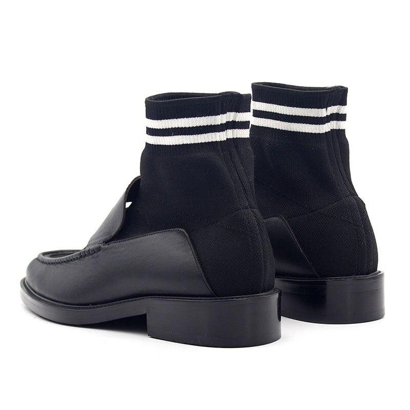 Couro Em Homens Mocassins Deslizamento Model Reais Botas Quente Inverno Algodão De Dos Peúga Casual Outono Patchwork Estiramento Sapatos Moda Negócio 1a8p5w
