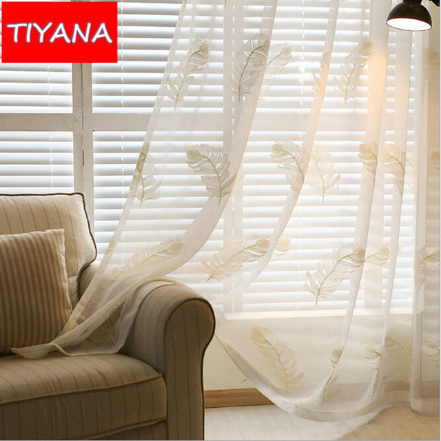 White Embroidered Feather Window Treatment Tulle Curtains Fabric ...