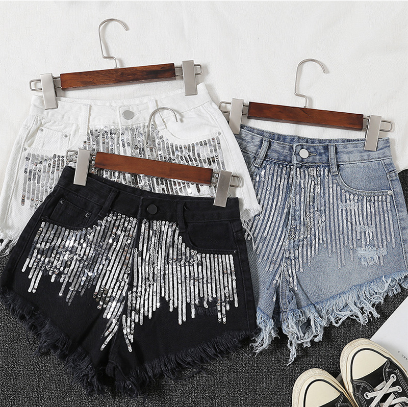 2019 Summer New Fashion Sequined Fringed Edging Cowboy Wide Leg 3 Colors Denim Shorts Female A-Line Shorts Hot Pants Women D331