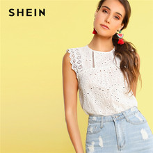 SHEIN Scallop Hem Lace Insert Schiffy White Blouse Boho Cotton Sleeveless Ladies Tops Summer Solid Womens Tops And Blouses