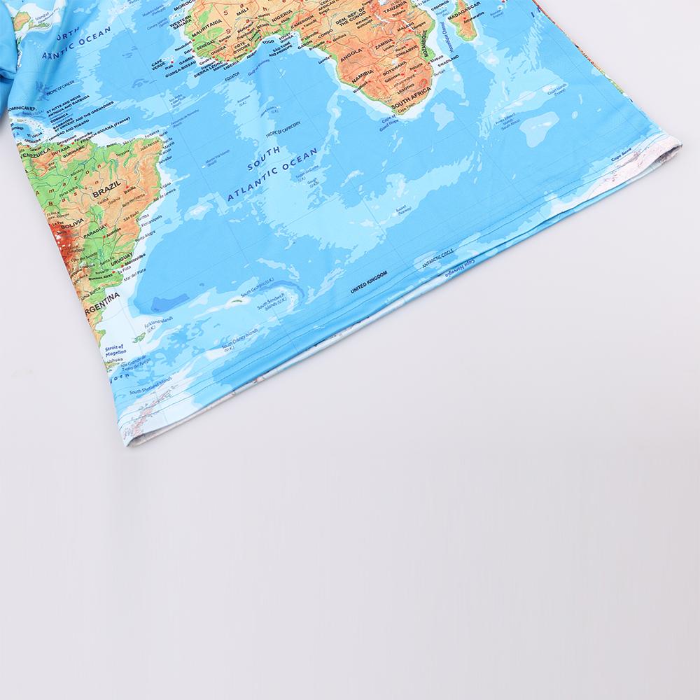Tシャツ男性 Stop118 Tシャツ男性世界地図 夏半袖アニメトップス 7