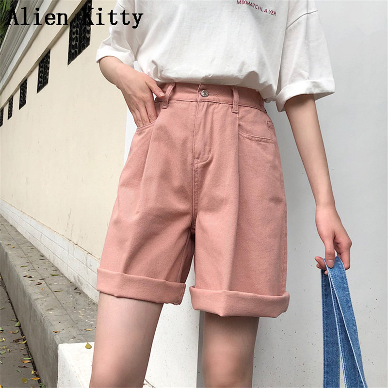 Alien Kitty Korea 2019 Summer Fashion Female Loose Casual Loose Solid Fresh Thin Pockets Ladies Plus Size Harem Short 3 Colors