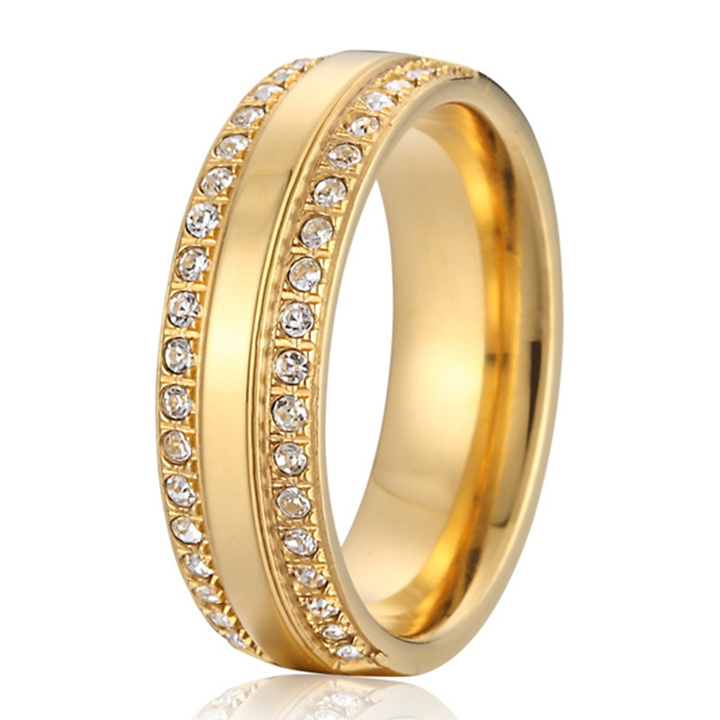 steel jewelry wedding band for men and women 18k gold plated rings