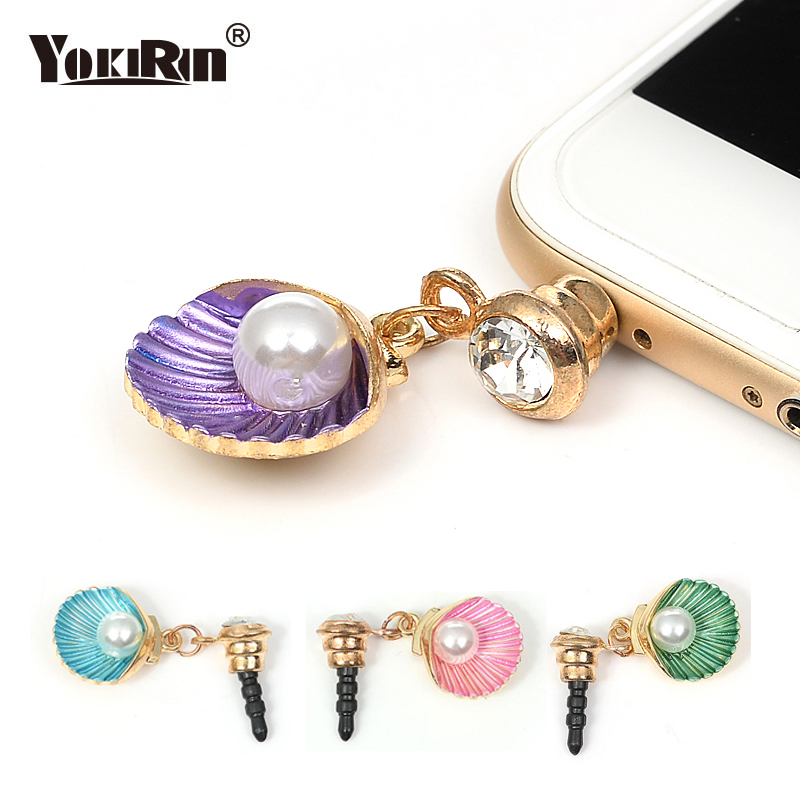 YOKIRIN Lovely Pearl Shell Design Anti Dust Plug For Phone Accessories Earphone Jack for iPhone Samsung Xiaomi Huawei Sony