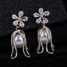 CocoANGEL Natural Fresh Water Pearl Crystal Copper & Electroplating Flora Sterling Drop Earring For Women cocoangel natural fresh water pearl copper