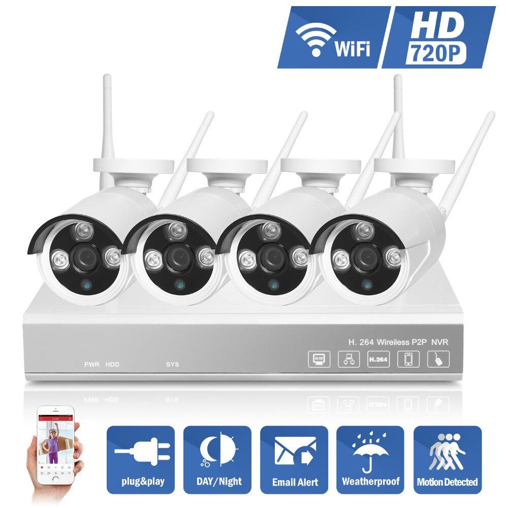 2016 Hotting 4CH 720P CCTV font b Security b font NVR 4PCS 1 0MP 1200TVL Wireless