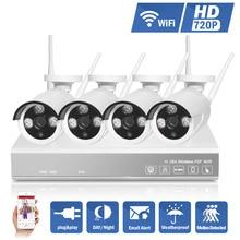 2016 Hotting 1200TVL 4CH 720 P NVR de Seguridad CCTV 4 UNIDS 1.0MP P2P Inalámbrica WIFI Cámara IP Sistema de Vigilancia de Vídeo Kit