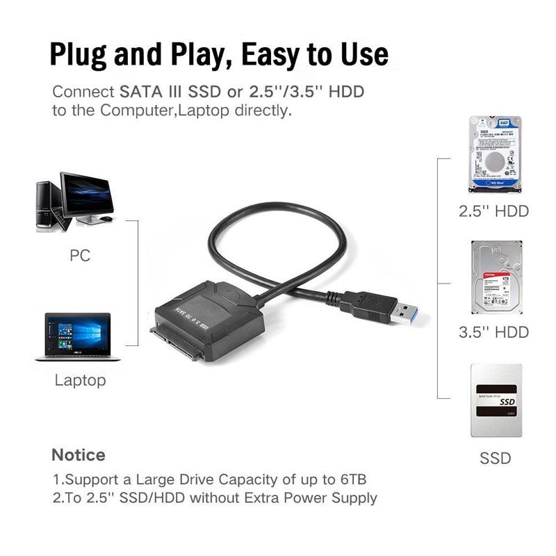 Sata адаптерінің кабелі USB 3.0-ден Sata - Компьютерлік кабельдер мен коннекторлар - фото 3