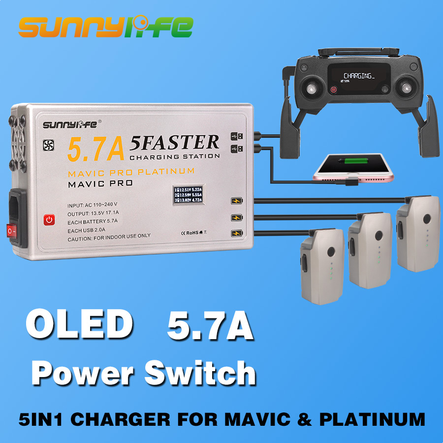 5 in1 Charger for Battery &Controller&Smartphone& Tablet 5.7A Large Current Charger with OLED Display for MAVIC & PLATINUM 3pcs battery and european regulation charger with 1 cable 3 line for mjx b3 helicopter 7 4v 1800mah 25c aircraft parts