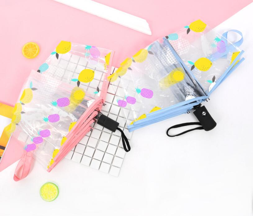 Creative small fresh pineapple fruit full automatic umbrella thickening transparent folding umbrella free shipping