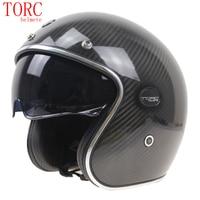Prawdziwa Kelver kask motocyklowy Carbon Fiber Otwarta Twarz kask motocyklowy ECE DOT zatwierdzony o Zwiększonej Czarne okulary