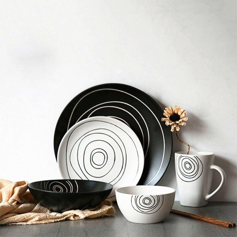 Европейская матовая посуда, керамическая посуда, тарелка для лица, белая, черная, годовое кольцо, модель блюда для стейка, десерта, салата, па