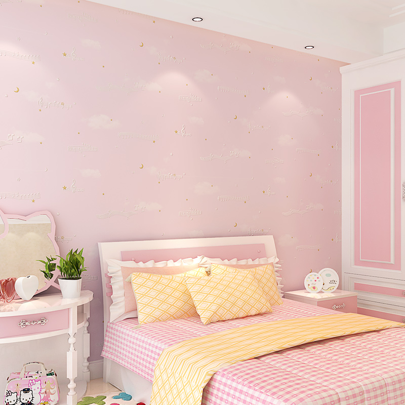 Home Improvement Music Note Children Wallpaper Roll Blue Beige Pink Wall Paper For Kids Bedroom Non Woven Boys Contact In Wallpapers From