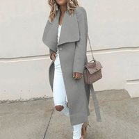 Casual White Elegant Women Trench Coat Plus Size Thin Wool Coats Black Autumn Winter Outerwear 2019 Office Ladies Long Overcoat